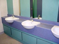 refurbished office bathroom